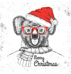 christmas hipster fashion animal koala vector image
