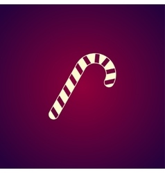 Christmas peppermint candy cane with stripes flat vector
