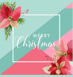 christmas winter poinsettia flower banner vector image vector image