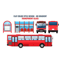 city bus and bus stop side front and back view vector image