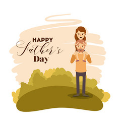 colorful card landscape of dad with girl in vector image
