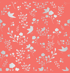 Coral and silver hand drawn flowers and birds vector