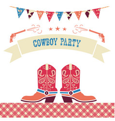 Cowboy party western card symbols with cowboy vector
