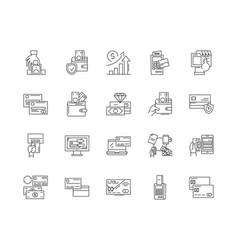 Creditability line icons signs set vector