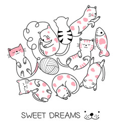 Cute baby cat cartoon hand drawn style for vector