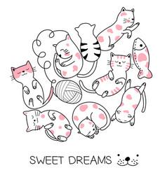 cute baby cat cartoon hand drawn style vector image