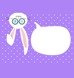 cute bunny easter with speechbubble vector image