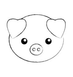 cute sketch draw pork cartoon vector image