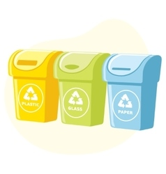 Different colored recycle waste bins vector