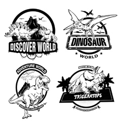 Dinosaurs black white emblems vector