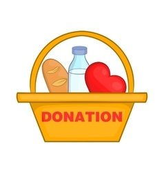 Donation box with food icon cartoon style vector