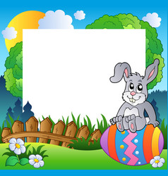 easter frame with bunny on egg vector image