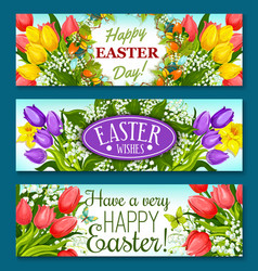 easter greetings banner set with flowers and eggs vector image