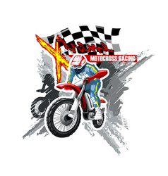 Extreme red off road motorbike x-treme logo vector