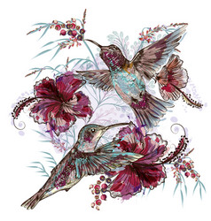 fashion floral with hummingbirds vector image