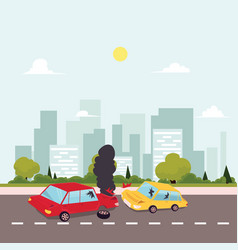Flat cartoon car accident scene vector