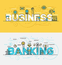 Flat design line concept banner Business and vector