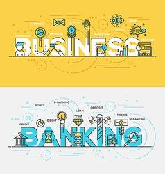 flat design line concept banner business vector image