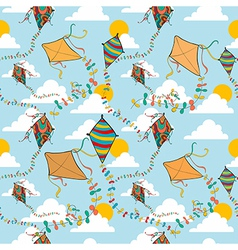Flying kites seamless pattern vector image