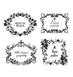 Funeral wreath cards flowers obituary rip frames vector