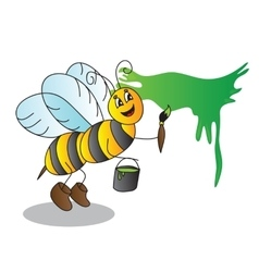 Funny cartoon bee with a brush and paints vector