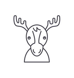funny deer line icon concept funny deer vector image