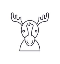 Funny deer line icon concept funny deer vector