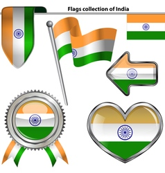Glossy icons with Indian flag vector image