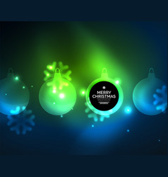 Glowing christmas ball and snowflakes vector