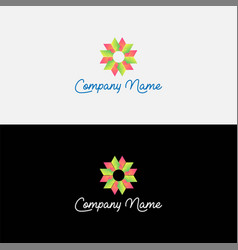 gradient abstract flower logo design vector image