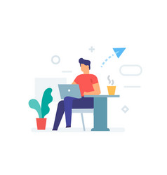 guy is sitting with a laptop in a cafe icon vector image