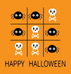 Happy halloween tic tac toe game with spider and vector