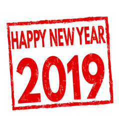 happy new year 2019 sign or stamp vector image