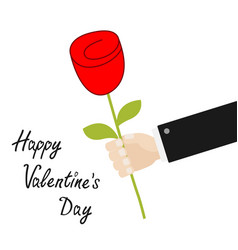 happy valentines day businessman hand holding red vector image