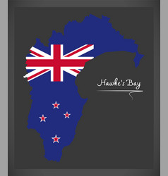 Hawkes bay new zealand map with national flag vector
