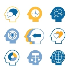 Head brain icons vector image vector image