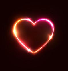 heart background halogen or led light neon sign vector image