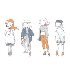 hipster cute girls in casual clothes hand drawn vector image