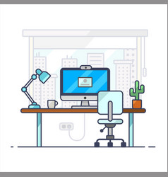 home office workplace desk flat modern interior vector image