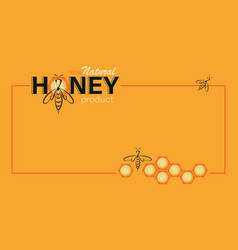 Honey template linear bee logo honeycomb and the vector