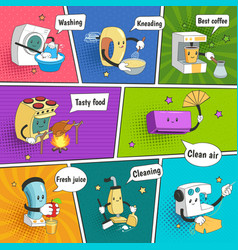 household appliances bright colorful comic page vector image