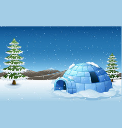 Igloo with fir trees and mo vector