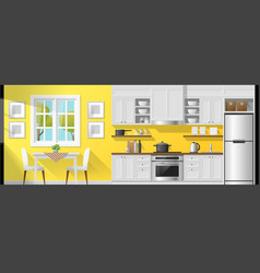 Interior background with dining room and kitchen vector