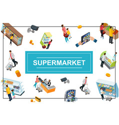 isometric supermarket colorful concept vector image