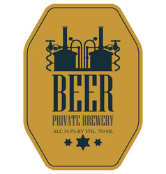 label for beer with machine to make beer vector image
