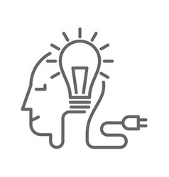 light bulb and plug on human head vector image