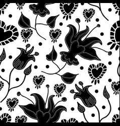lilly and hearts-flowers in bloom seamless repeat vector image