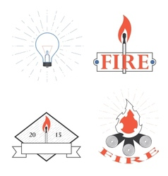 Logos depicting fire and light vector
