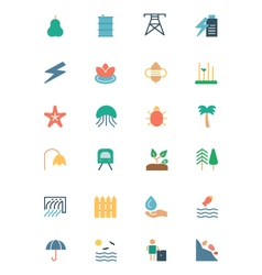 Nature and Ecology Colored Icons 5 vector