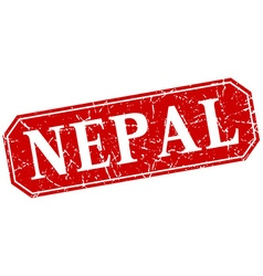 Nepal red square grunge retro style sign vector